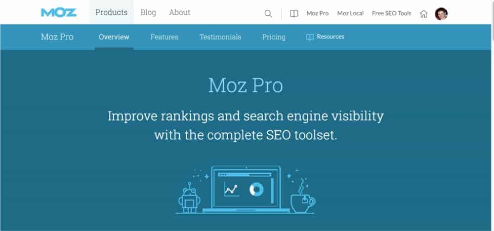 moz pro gives you insights on keywords and links