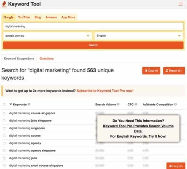 search for relevant keywords that I can use for my website