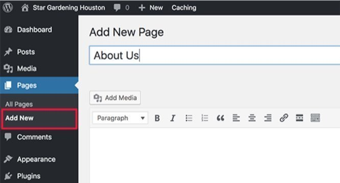 using wordpress to create new pages
