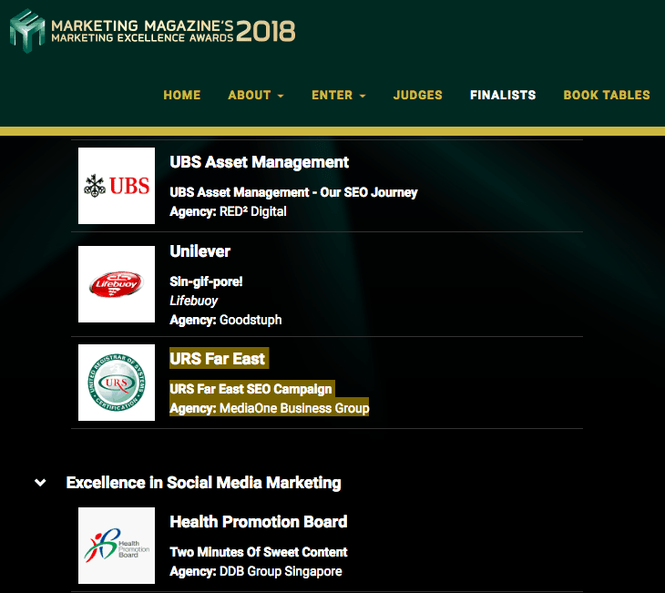 nominee for marketing excellence awards 2018