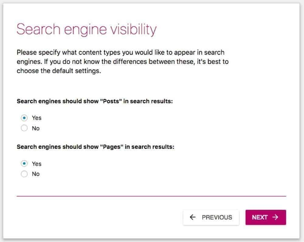 set yoast for SEO visibility