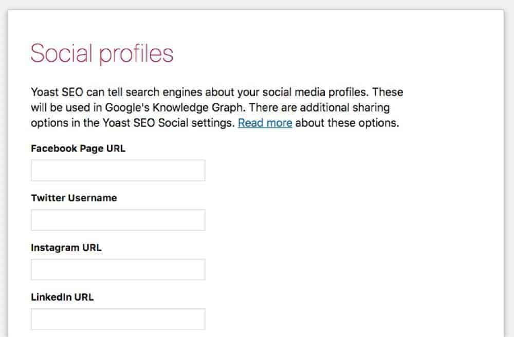 social media profile setting in website