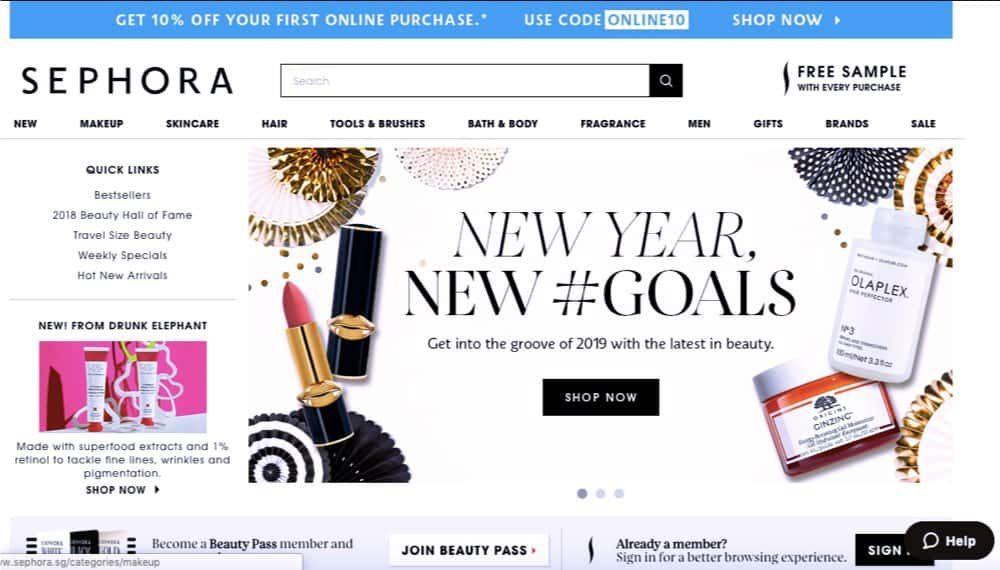 beauty and cosmetics e-commerce design singapore