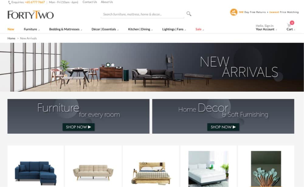 furniture ecommerce website design singapore mediaone
