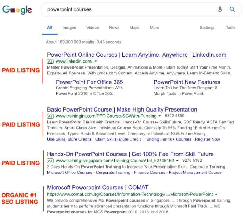 seo for competitive keyword powerpoint courses