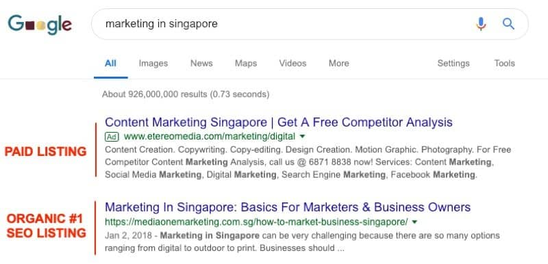 seo for competitive marketing term in singapore