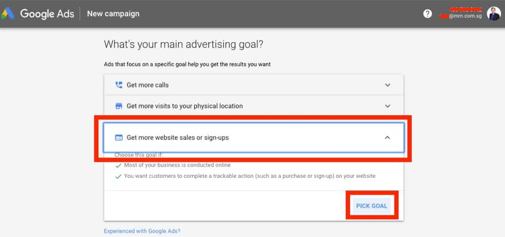 choosing goals in google ads