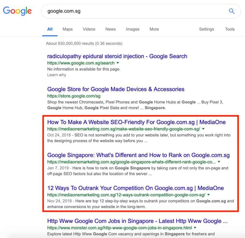 google rankings the complete guide singapore