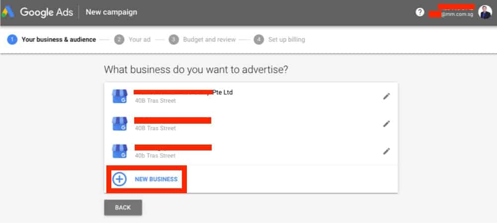 pick a business to promote online on google ads