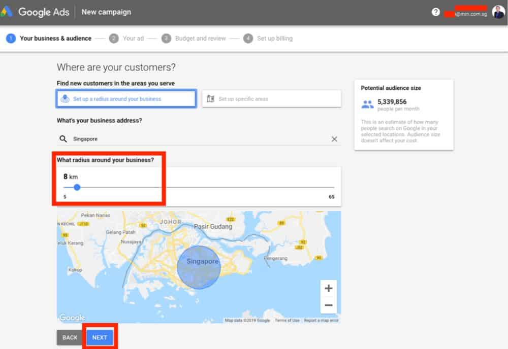 setting areas around your shop on google ads