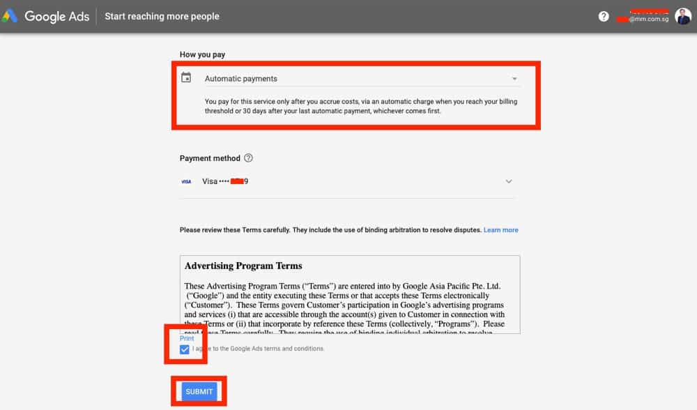 setting up google ads billing part 3