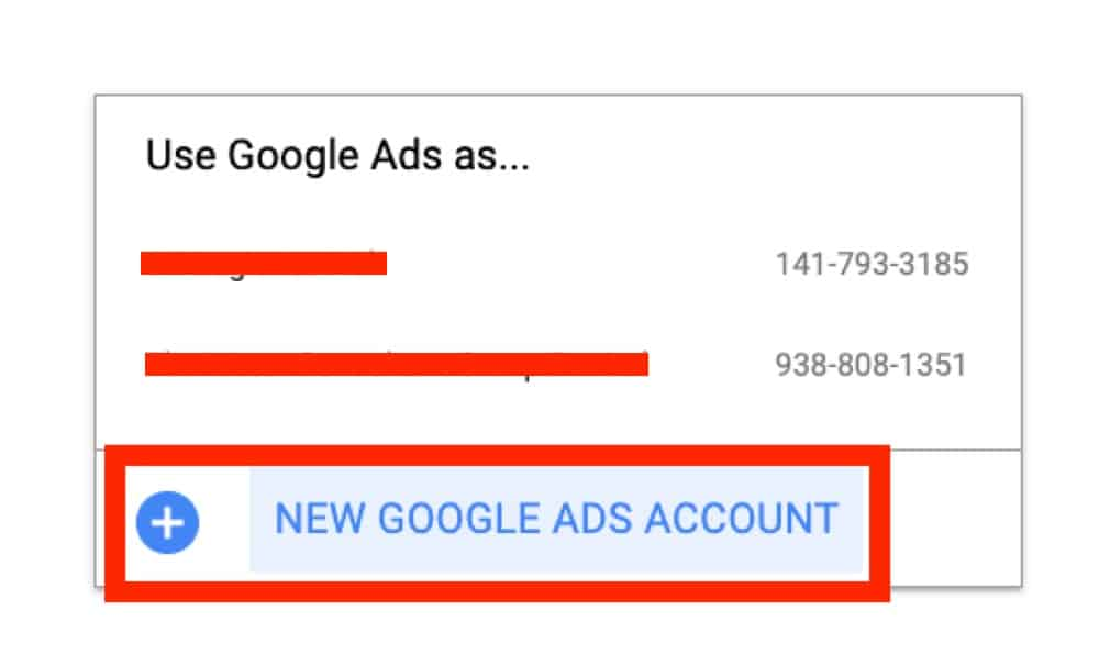 signing up new google ads account