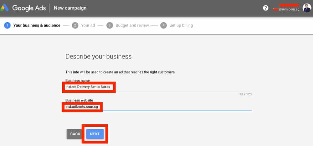 step to insert business and url in google ads