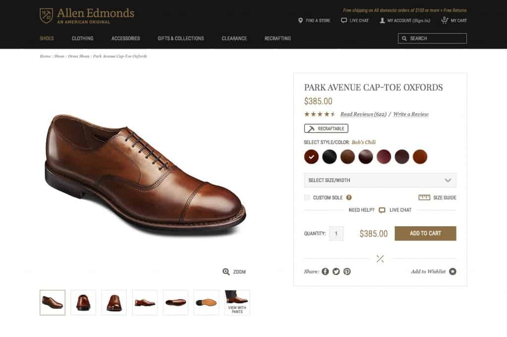 ecommerce product page design