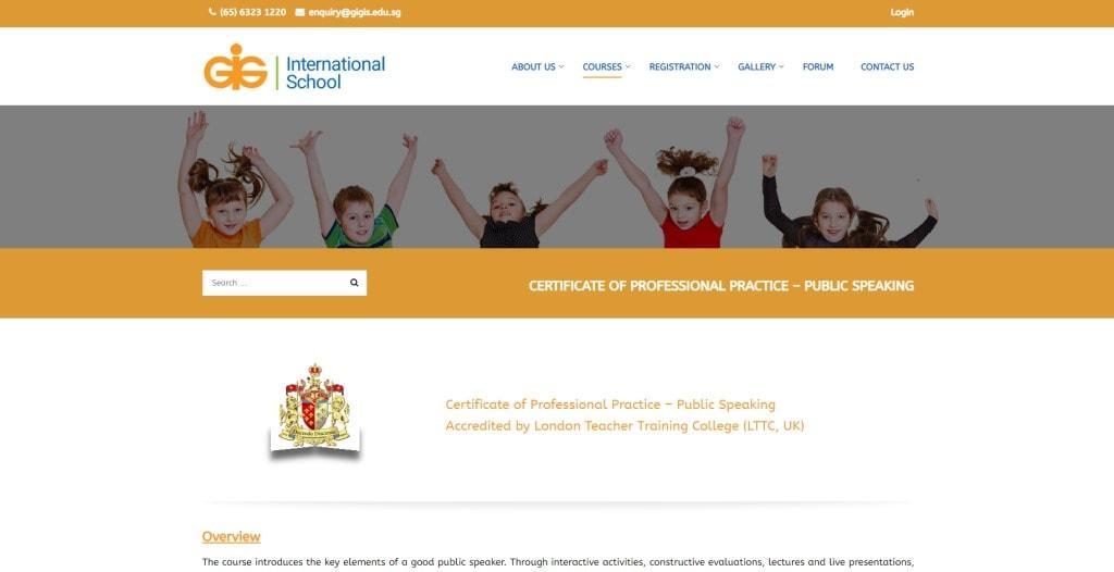GIG International School Public Speaking Courses in Singapore
