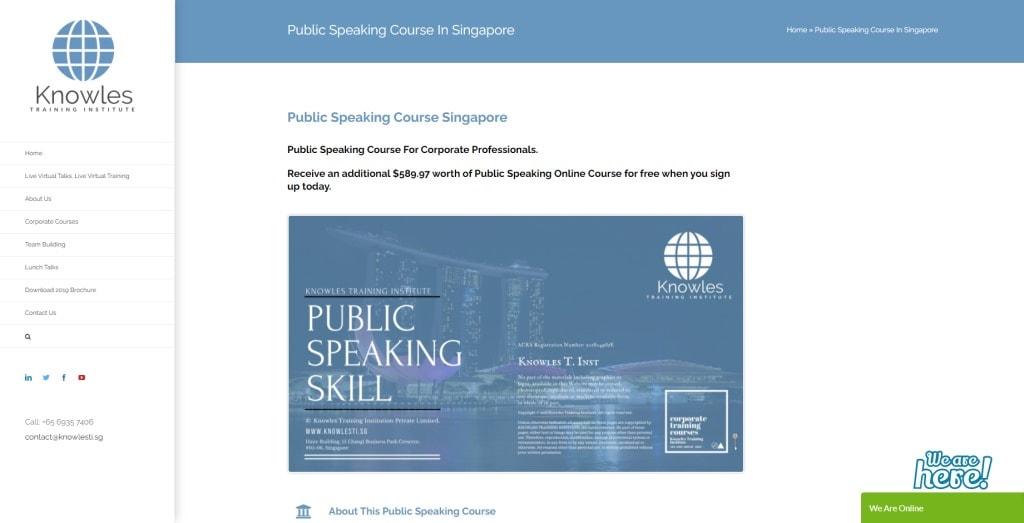 Knowles Training Institute Public Speaking Courses in Singapore