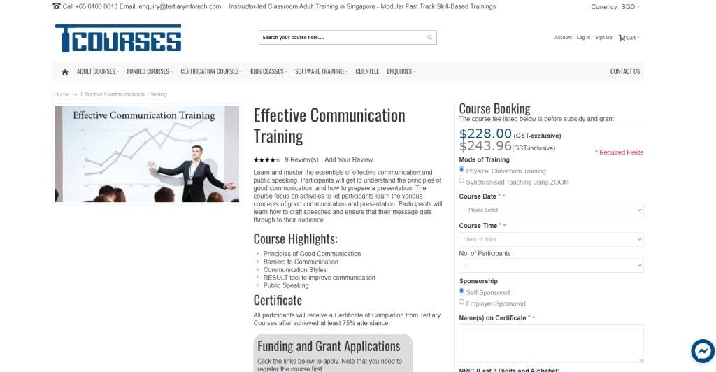 Tertiary Courses Public Speaking Courses in Singapore