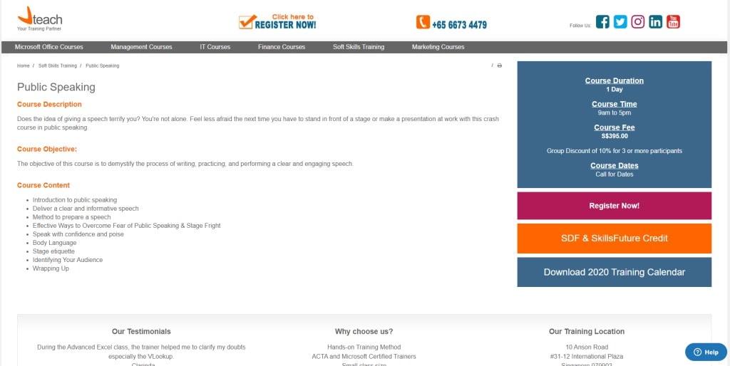 VTeach Public Speaking Courses in Singapore