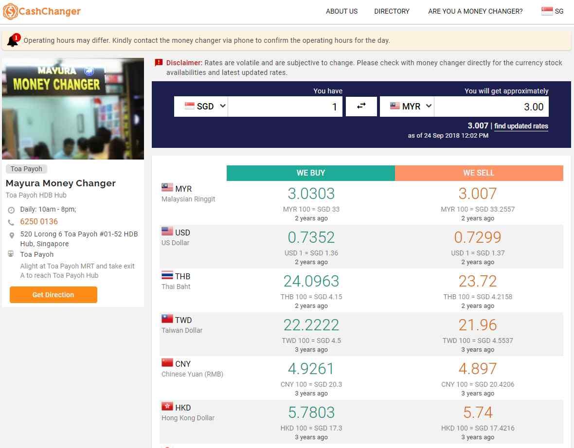 Cash Changer Top Money Changers In Singapore