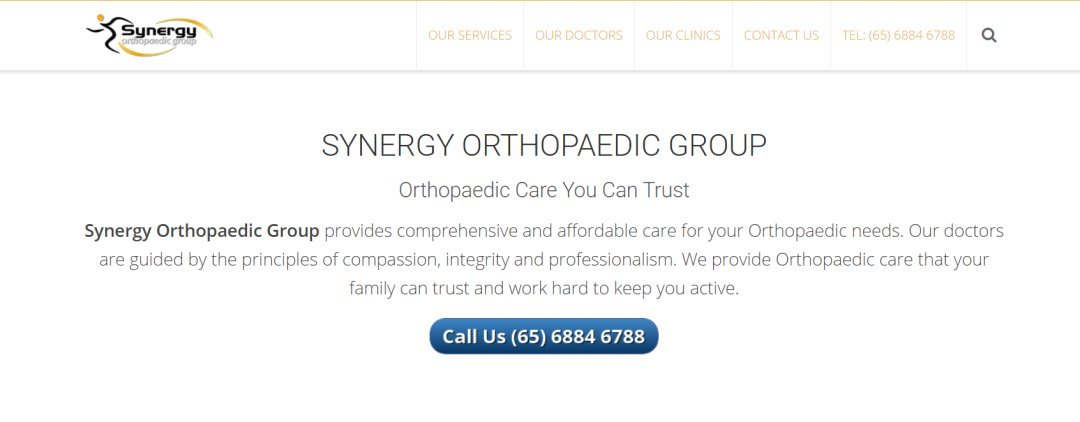 Synergy Top Orthopaedic Clinics In Singapore
