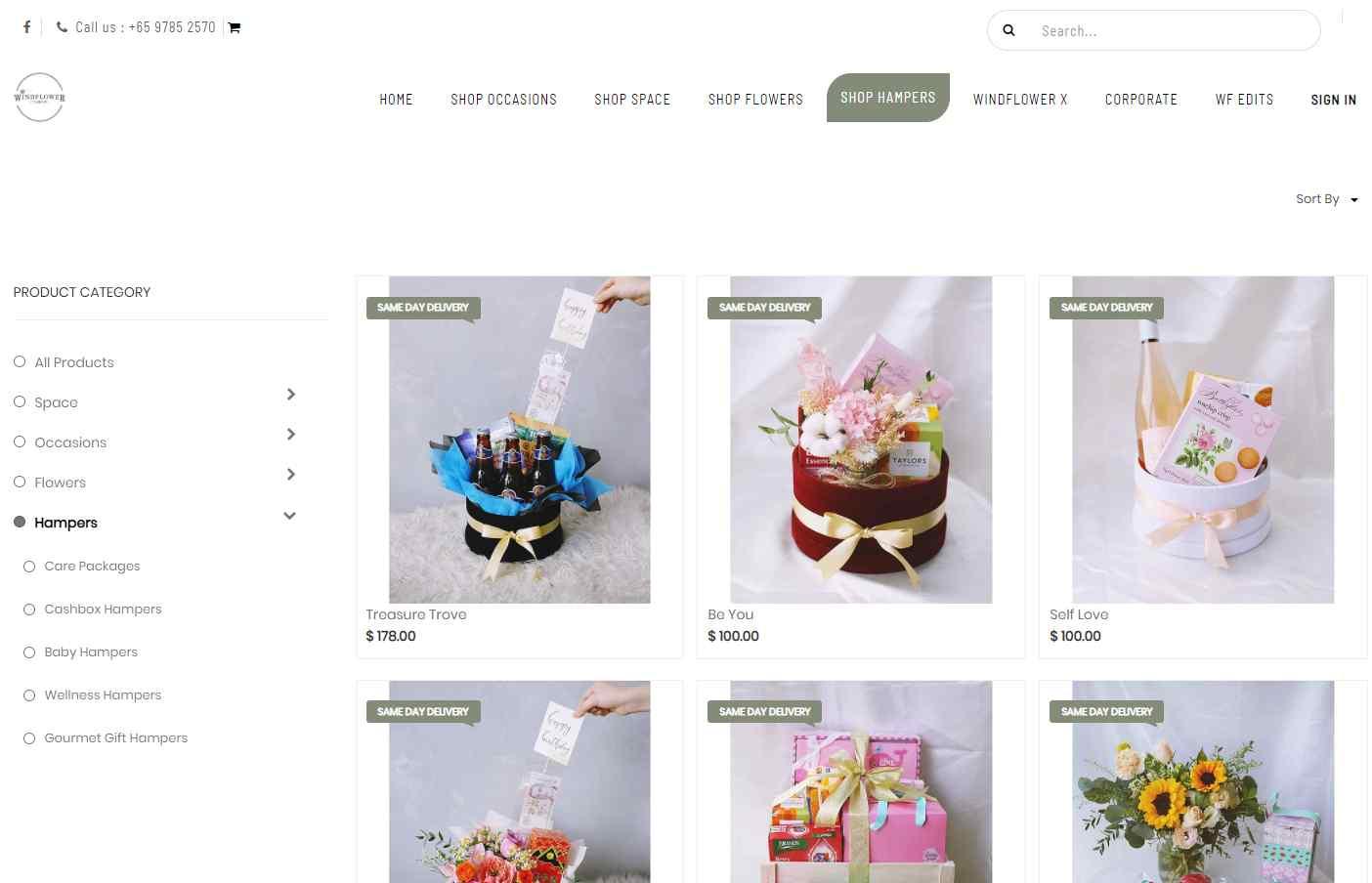 wind flower florist Top Gift Hamper Companies in Singapore