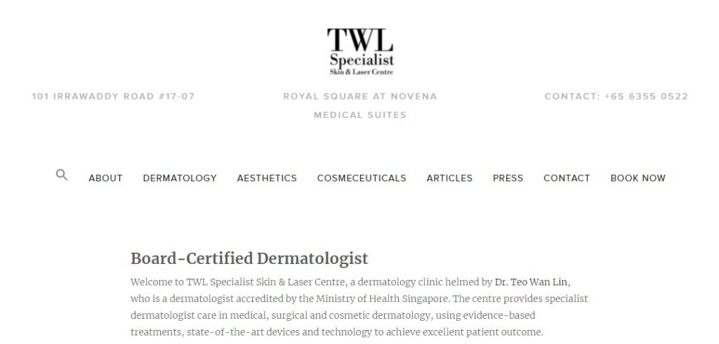 TWL Specialist Top Dermatologists in Singapore