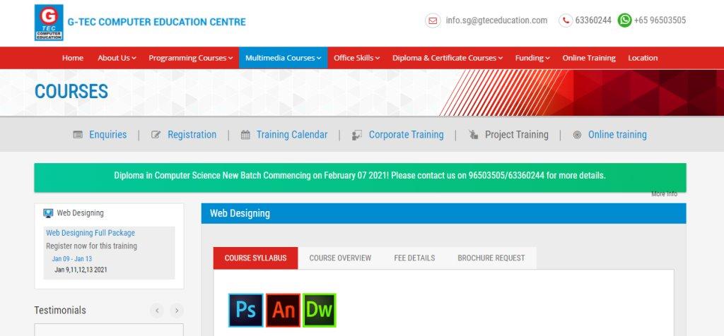 G-Tec Top Web Design Courses In Singapore