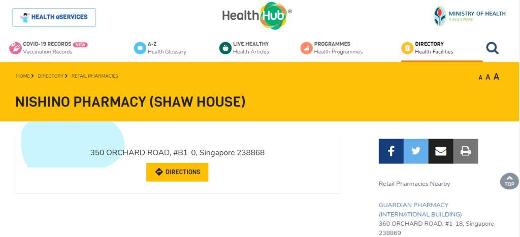 Nishino Pharmacy Top Pharmacists in Singapore