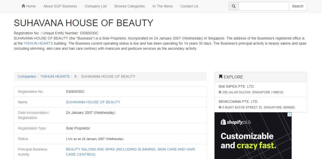 Suhavana House of Beauty Top Eyebrow Threading Salons in Singapore