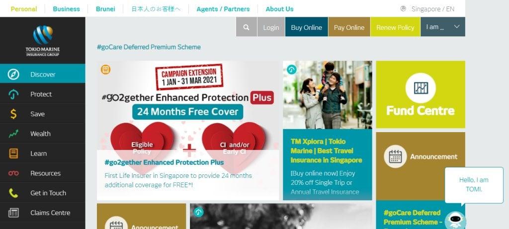Tokio Marine Top Travel Insurance in Singapore
