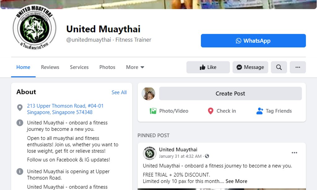 United Top Muay Thai Gyms in Singapore