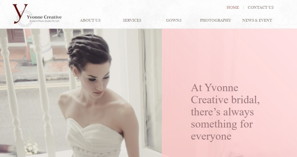 Yvonne Creative Top Wedding Dress Stores in Singapore