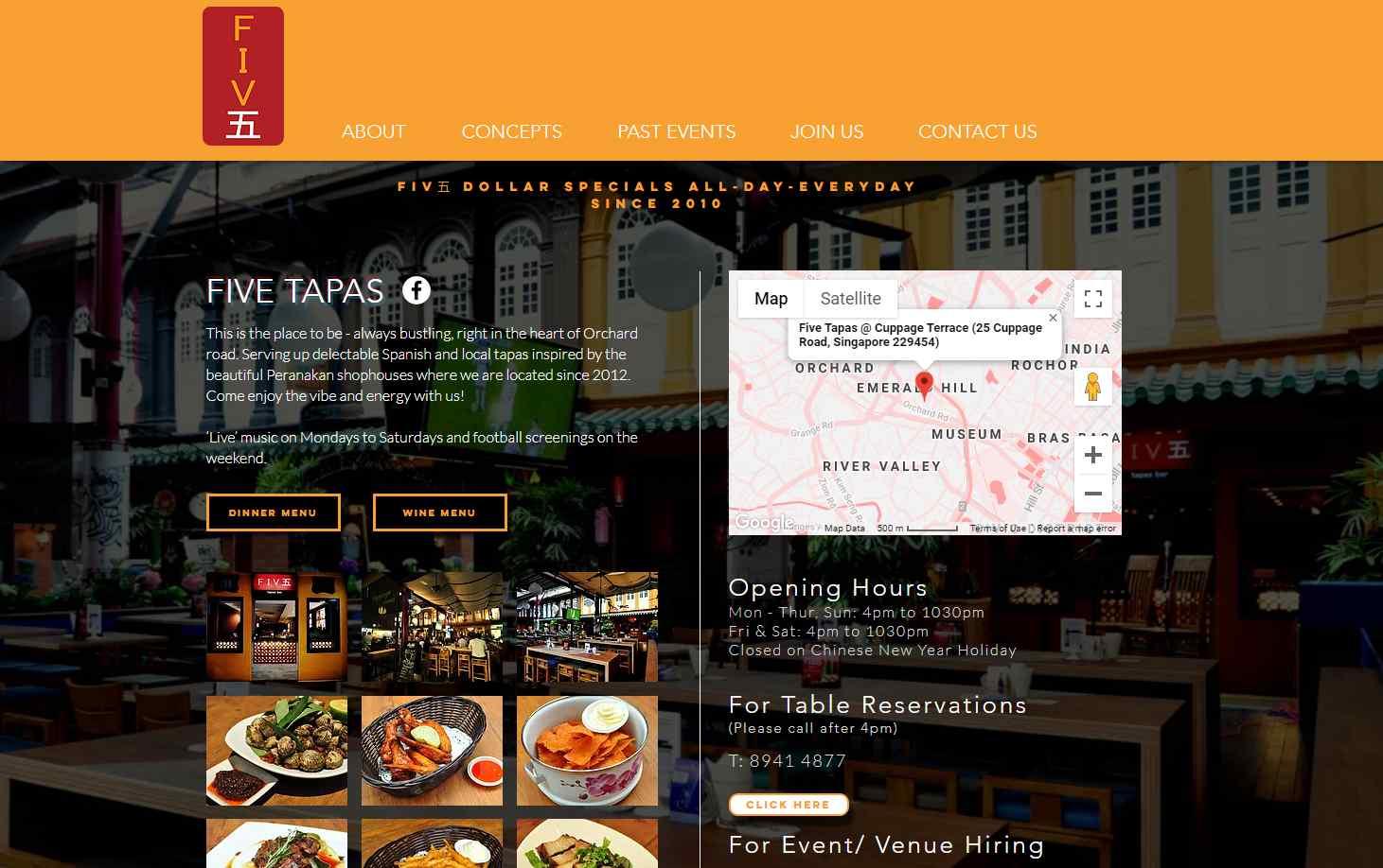 five tapas Top Bars in Singapore