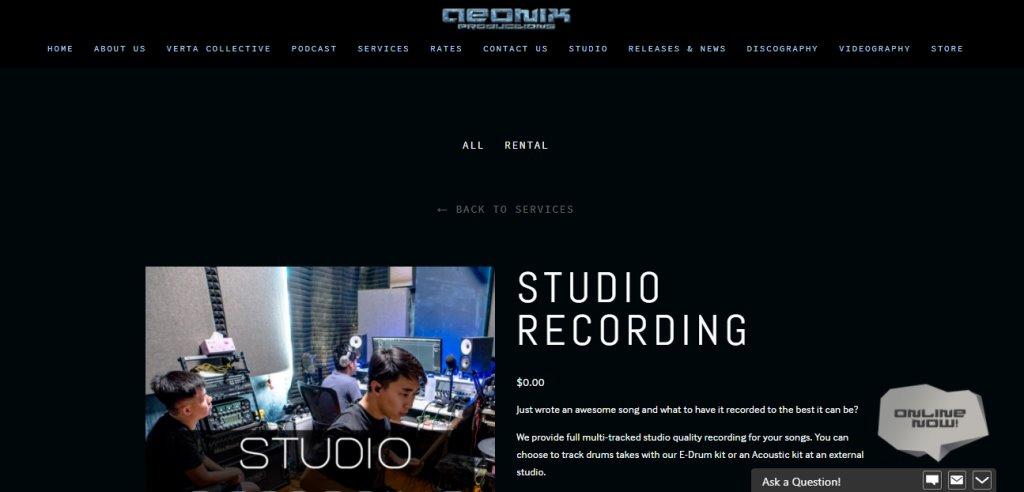 Aeonix Studio Top Music Studios in Singapore