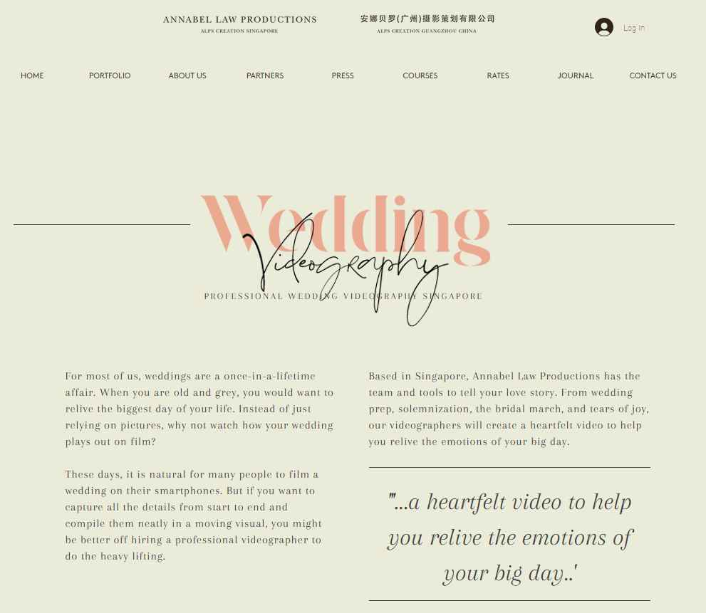 Annabel Law Top Wedding Videography Services in Singapore