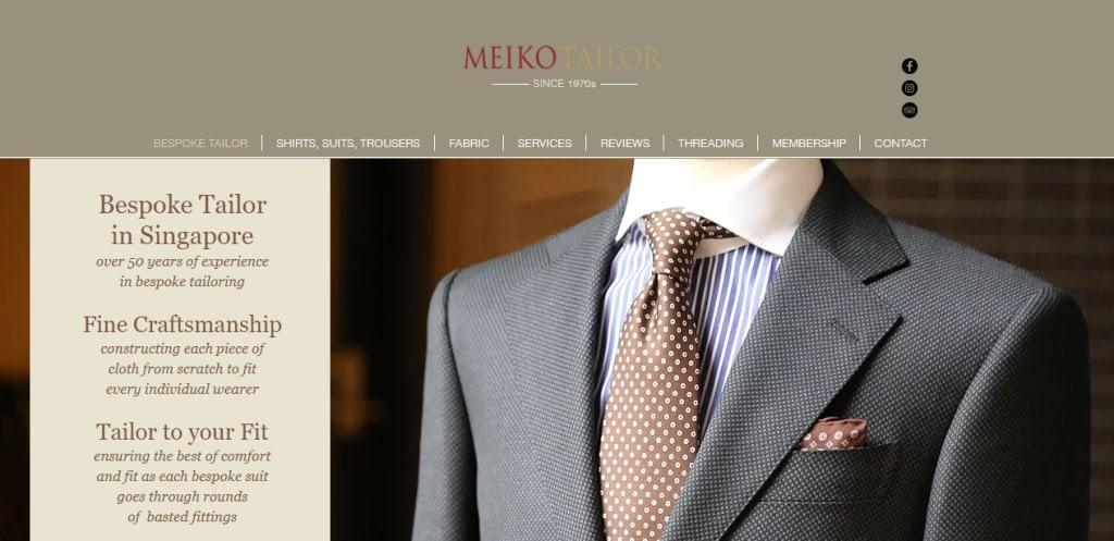Meiko Tailor Top Men's Tailors for Suits in Singapore