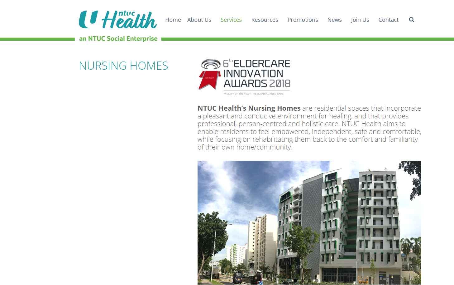 NTUC Health Top Nursing Homes in Singapore