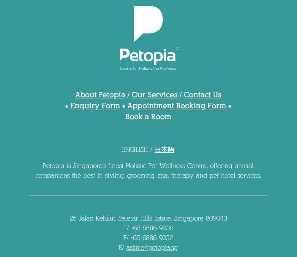 Petopia Top Pet Hotels in Singapore