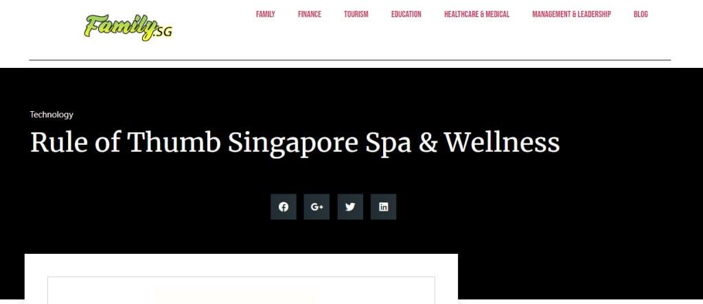 Rule of thumb Top Foot Spas in Singapore