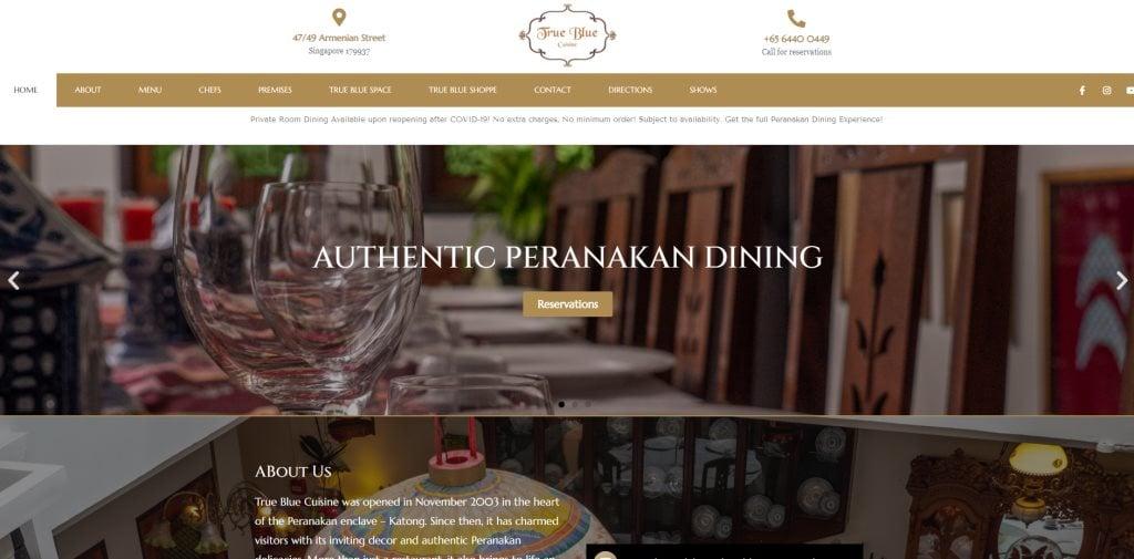 True Blue Cuisine Peranakan Restaurants Singapore