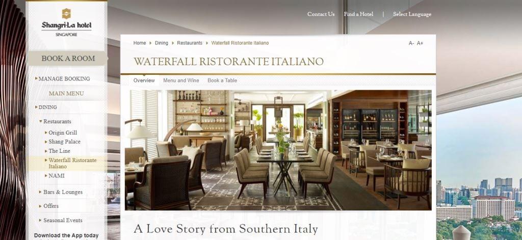 Waterfall Ristorante Top Italian Restaurants In Singapore