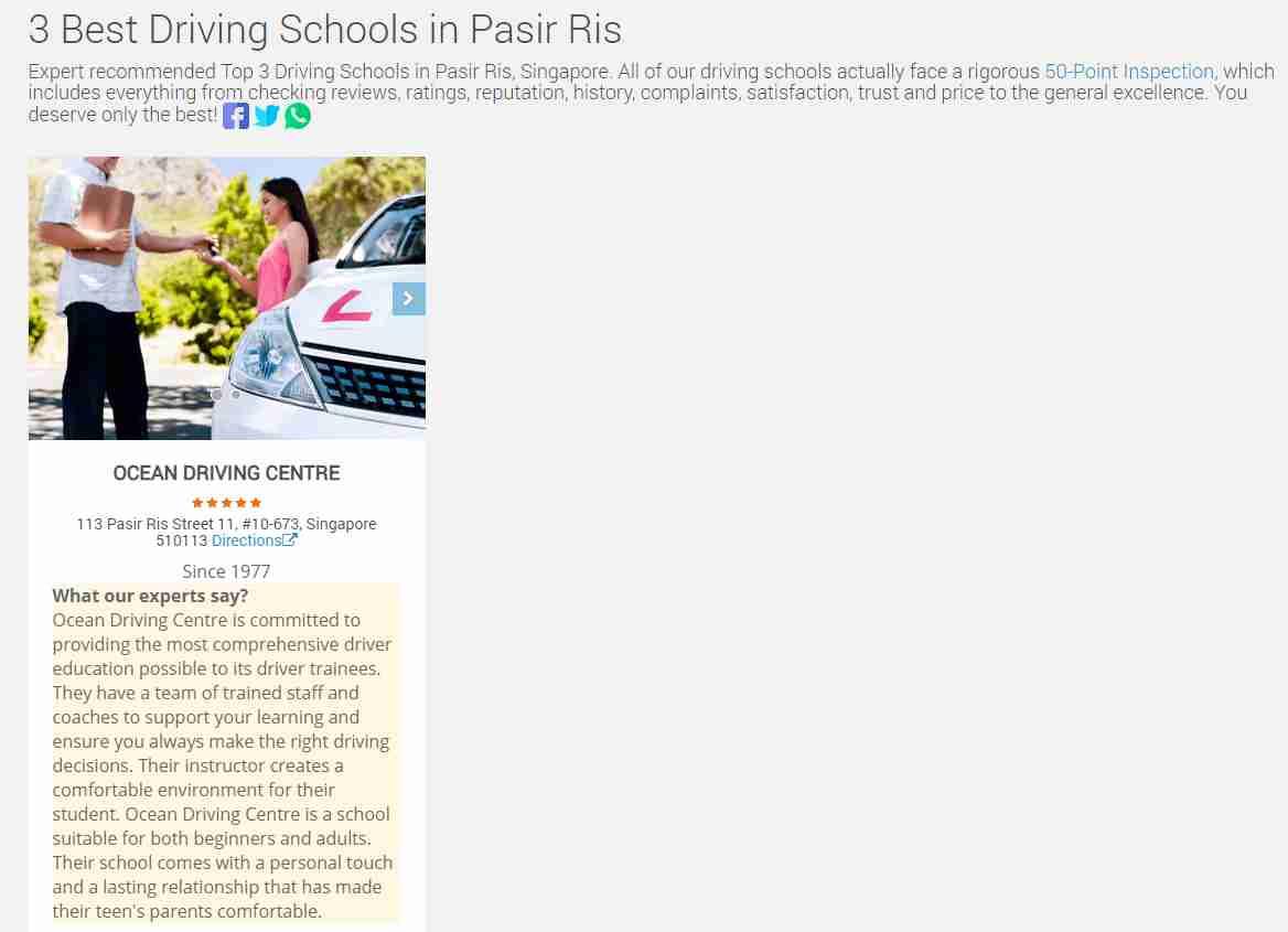 ocean driving Top Driving Schools in Singapore
