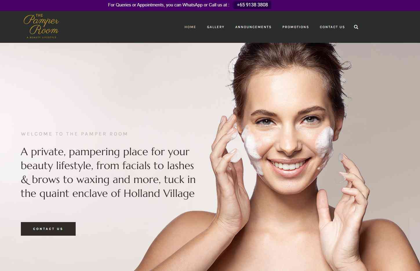 the pamper room Top Facial Salons in Singapore