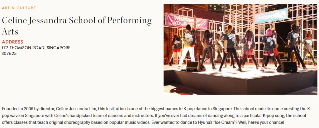 Celine Jessandra Top Kpop Dance Classes in Singapore