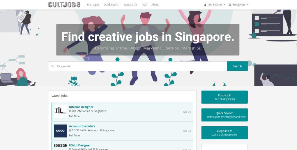 CultJobs job posting site singapore