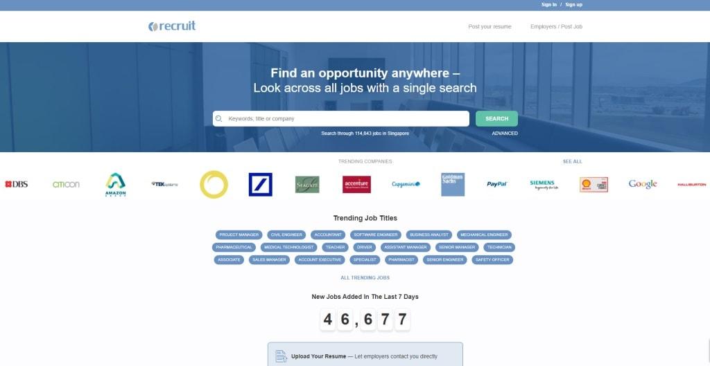 Recruit job posting site singapore