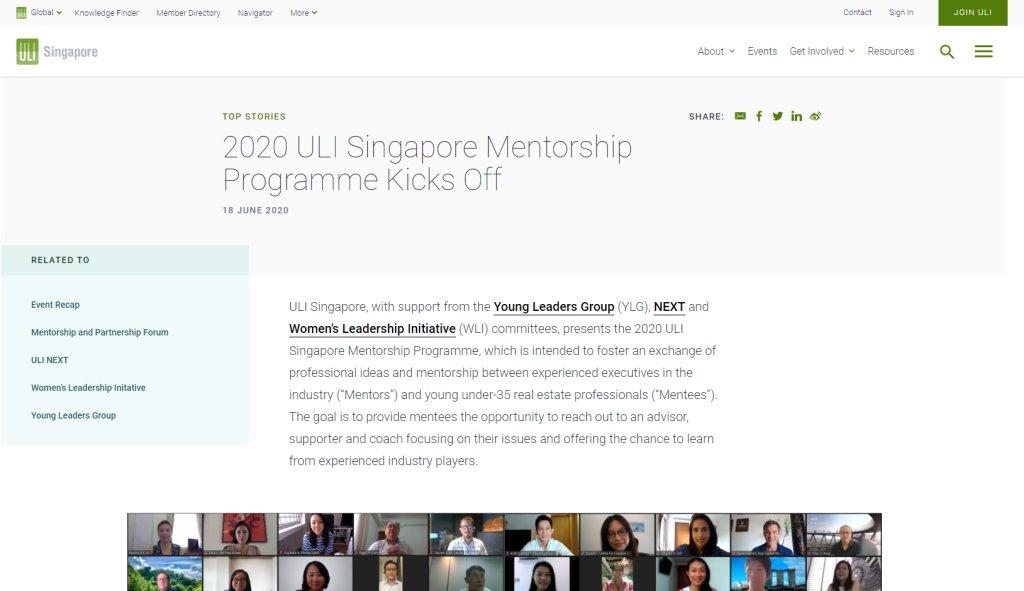 Singapore ULI Top Mentorship Programmes in Singapore