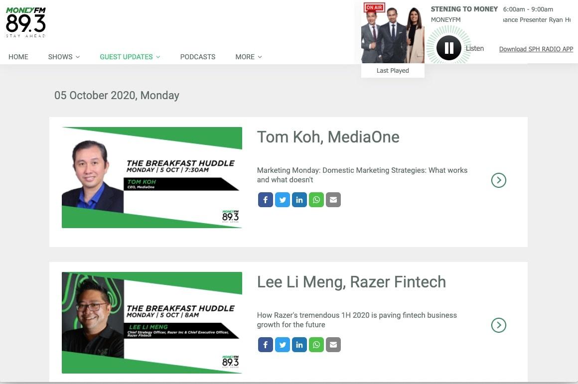 mediaone tom koh interviewed by money fm893