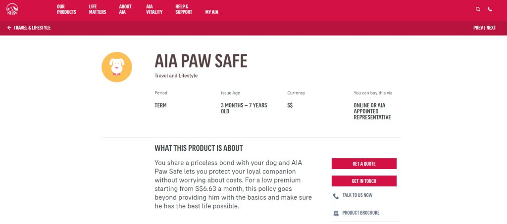 AIA Top Pet Insurance Plans in Singapore