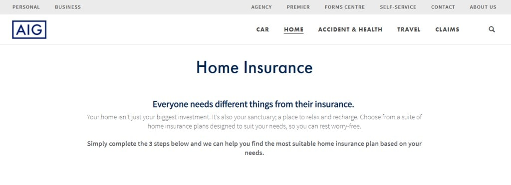 AIG Top Home Insurance Providers in Singapore